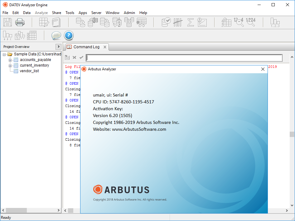 ArbutusAnalyzer 6.20 license